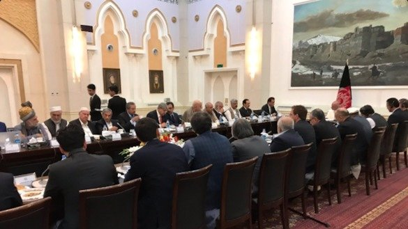 A Pakistani parliamentary delegation confers with Afghan President Ashraf Ghani in Kabul April 29. [Courtesy of Afghan Ambassador to Pakistan Omar Zakhilwal/Twitter]