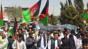 Helmand Province residents July 7 in Lashkargah protest Iranian President Hassan Rouhani's criticism of Afghan dams. [Courtesy of Najibullah]