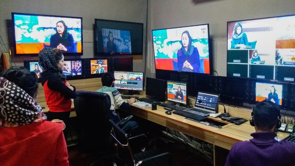 The Zan TV control room in Kabul is shown October 30. [Ziar]