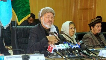 Mohammad Karim Khalili, chairman of the Afghan High Peace Council, speaks at a Kabul news conference December 6. [Afghan Peace High Council]