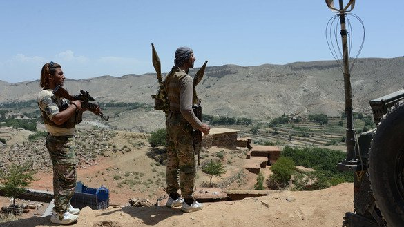 Afghan security personnel June 20 keep watch during an offensive to retake Tora Bora in Pacheragam District, Nangarhar Province, from ISIS. ISIS has been defeated in Afghanistan, say Afghan officials. [Noorullah Shirzada/AFP]