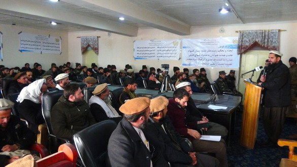 Nuristan Governor Hafiz Abdul Qayum speaks at an event in Parun on December 20 during which religious scholars and tribal elders announced continuing support for the government and security forces. [Khalid Zerai]