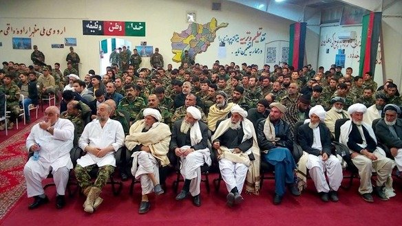 Herat Province tribal elders and religious scholars gather at 207th Zafar Corps headquarters last December 21 to express their continued support for the Afghan National Defence and Security Forces. [Sulaiman]