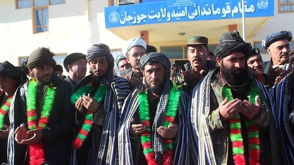 The Jawzjan provincial government January 1 welcomes nine former Taliban fighters who pledged to cease their destructive activities and vowed to support the Afghan forces in their fight against the Taliban and ISIS. [Sulaiman]