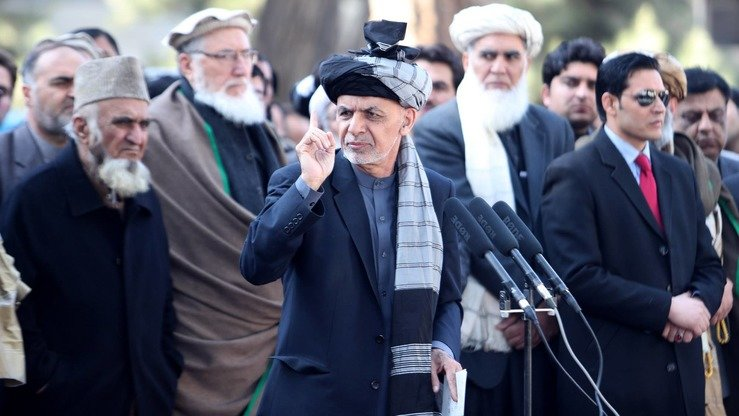President Ashraf Ghani is shown February 2 in Kabul speaking after Friday prayers. [Facebook/Afghan Presidential Palace]