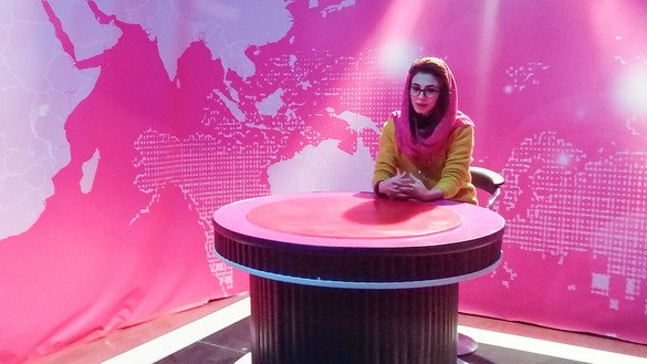 Freshta Mahbobi, a 23-year-old Zan TV presenter shown in Kabul October 30, says no one can prevent her from doing her job. Afghan women are redrawing the media landscape in the country with the launch of a new magazine and a television channel, risking the anger of extremists by giving women a voice. [Ziar]