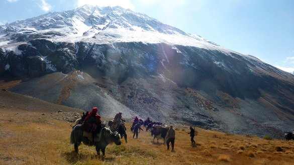 "This picture taken last October 7 shows ethnic Kyrgyz nomad families travelling on yaks in the Wakhan Corridor in Afghanistan. For centuries, the nomadic Kyrgyz people travelled freely across Central and South Asia, fording rivers and cutting across snow-capped mountains with their herds of livestock. Today about 1,100 are trapped on the ""roof of the world"" -- caught in Afghanistan's remote and mountainous Wakhan Corridor. [Gohar Abbas/AFP]"