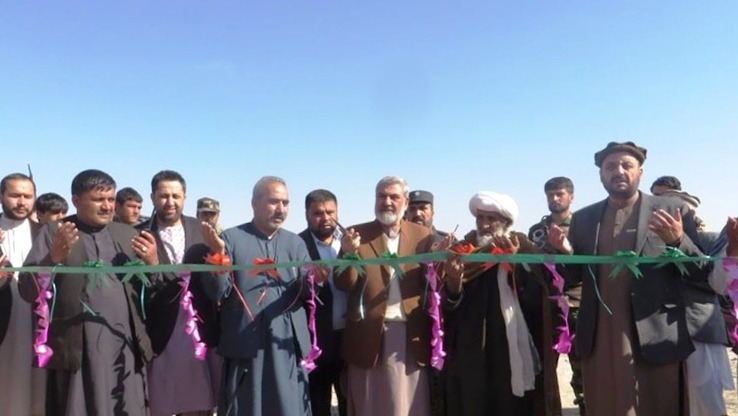 Afghan officials February 6 in Uruzgan Province are shown inaugurating development projects that will create hundreds of local jobs. [Uzrugan Department of Agriculture, Irrigation and Livestock]