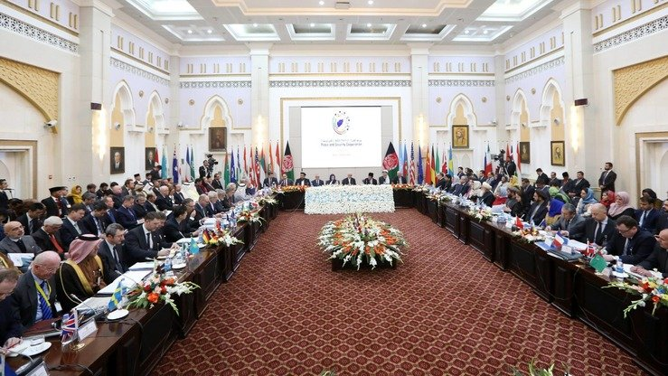 Representatives of more than 20 countries, including the United States, as well as of the United Nations, took part in the second Kabul Process peace conference February 28. [Afghan Presidential Palace]