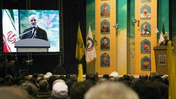 Maj. Gen. Qasem Soleimani, commander of Iran's Islamic Revolutionary Guard Corps' Quds Force, addresses a conference in Mashhad, Iran, on February 17, 2018, speaking about the fallen members of the Fatemiyoun Division and Zainabiyoun Brigade in Syria.
