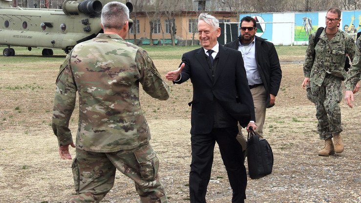 US Defence Secretary Jim Mattis arrives at the Resolute Support Mission headquarters on an unannounced visit to Kabul March 13. [Thomas Watkins/AFP]