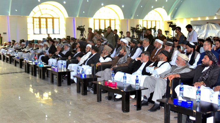 Religious scholars and Afghan officials gather in Kandahar city on April 3 to urge the Taliban to make peace. [Sifatullah Zahidi]
