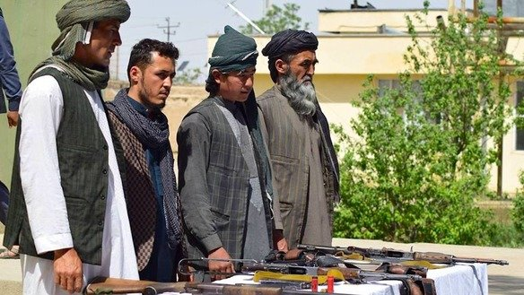 ISIS militants join the Afghan peace process April 1 at the Jawzjan provincial police headquarters. [Sulaiman]