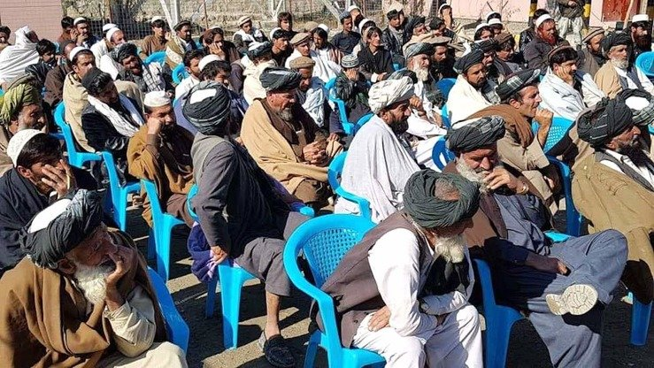 Tribal elders and local officials gather May 13 in Musa Khil District of Khost Province in a bid to promote education for girls in the province. [Rahim Gul]