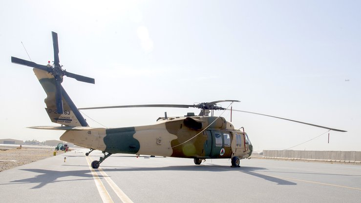 An AAF UH-60 can be seen February 18 at Kandahar Air Wing. The primary mission of the UH-60 will be troop and cargo transport. [Staff Sgt. Jared J. Duhon/US Air Force]
