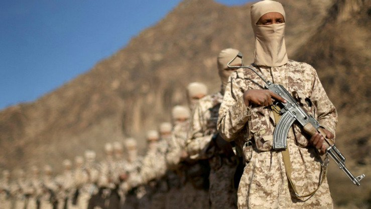 Recruits shown at an ISIS training camp in Yemen. ISIS 'emerged and developed its offensive potential and tactics using its own capabilities. It is inconceivable that it is receiving instructions and direction from the CIA or other,' one expert says. [File]