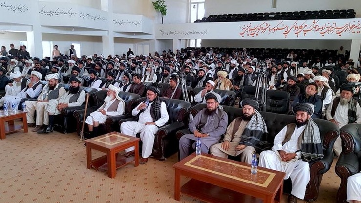 Hundreds of tribal elders from three southern provinces gather in Gardez June 27 to call on Taliban militants to seek peace and extend the ceasefire. [Courtesy of Paktia provincial spokesperson]