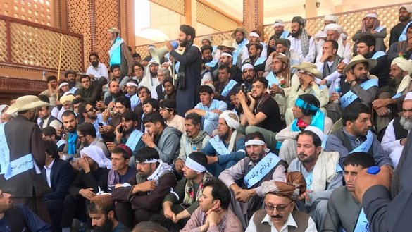 Helmand peace activists and supporters are shown on June 28 in Kabul. [Bismillah Watandost/Facebook]