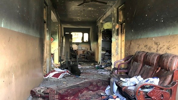 Damage from a gun attack July 11 against the provincial education department in Jalalabad can be seen. [Khalid Zerai]