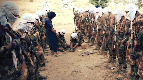 A screenshot from a Taliban video released July 7 shows the militants receiving training in an undisclosed location on planting roadside bombs.