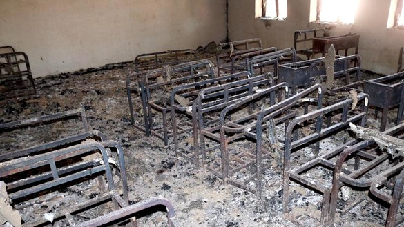 Unidentified gunmen July 11 set the Joyak girls' school on fire, burning furniture and supplies, including desks and chairs, books and notebooks. [Logar Education Department]