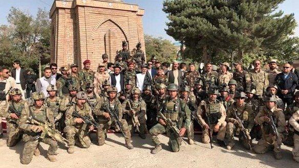 "President Ashraf Ghani visited soldiers in Ghazni on August 17 to assess the security situation in the province. ""Besides offering fateha prayers for the Ghazni martyrs, I met separately with the people, civilian and military officials of this province,"" he said on Twitter. [Ashraf Ghani/Twitter]"