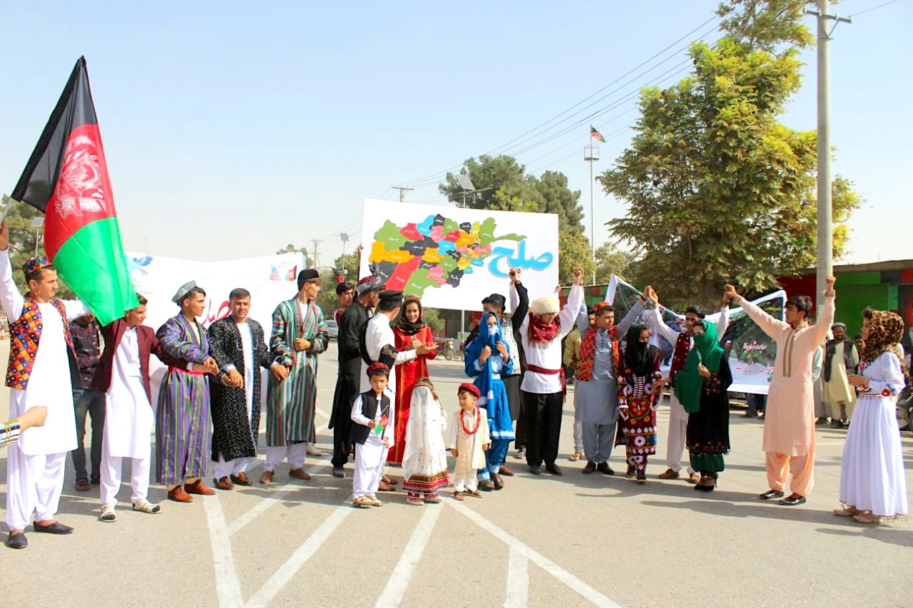 Aspiring Afghan models march for peace on the streets of Sheberghan