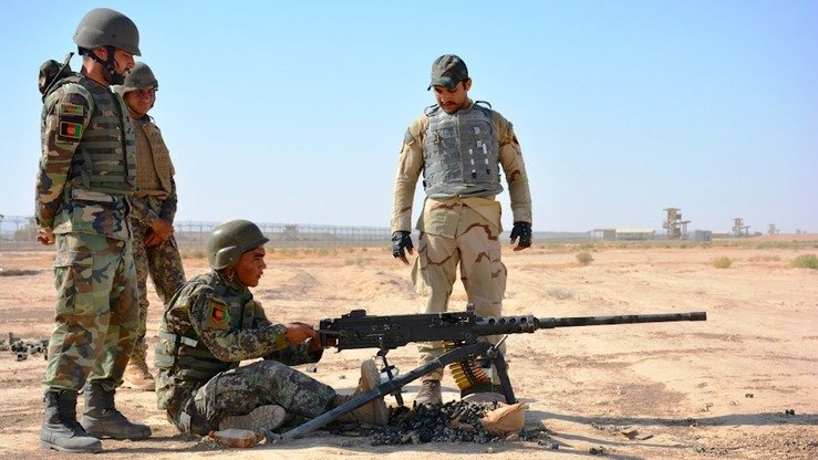 Afghan National Army (ANA) soldiers conduct drills October 13 at Camp Shorabak, an ANA base near Lashkargah, Helmand Province. [Zia Samar]