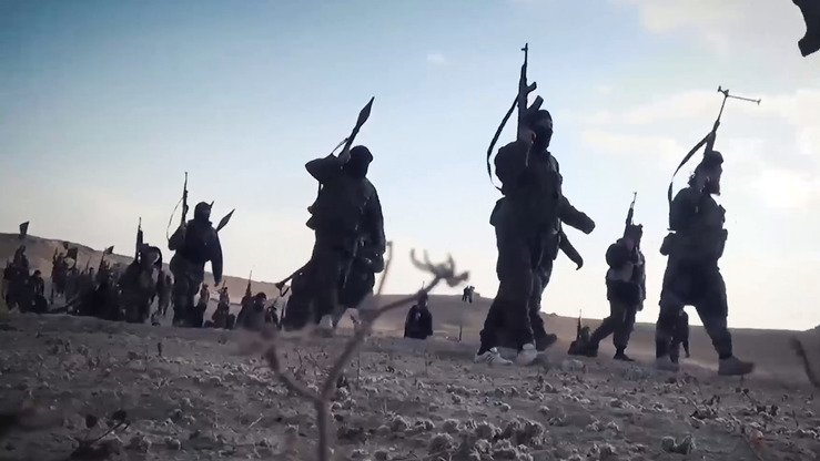 A screenshot from an ISIS video released October 30 showing fighters of the group in an undisclosed location. [File]