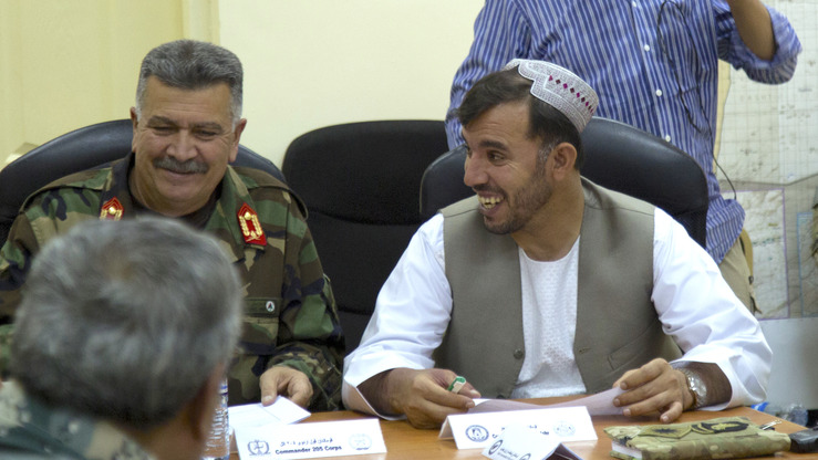 Gen. Abdul Raziq is shown in Kandahar July 3 discussing operational requirements for defeating the Taliban in the province. [CENTCOM]