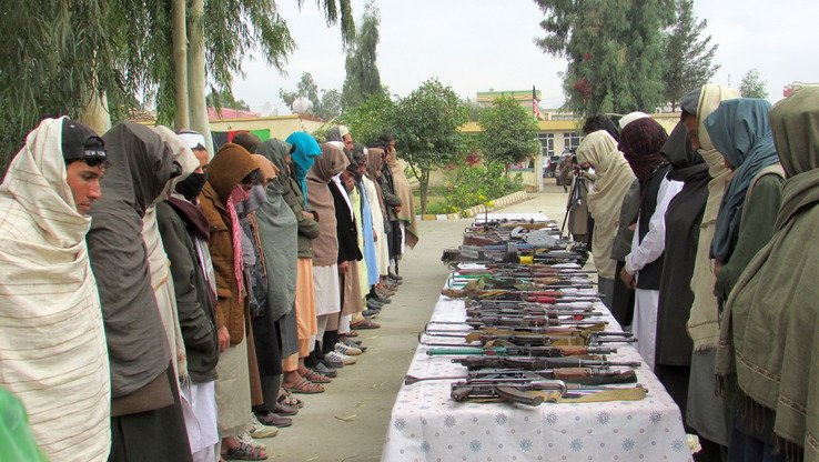 Afghan forces have intensified operations against militants in various parts of Nangarhar Province, prompting 54 Taliban militants on November 22 to surrender their weapons to local authorities in provincial capital Jalalabad and join the peace process. [Khalid Zerai]
