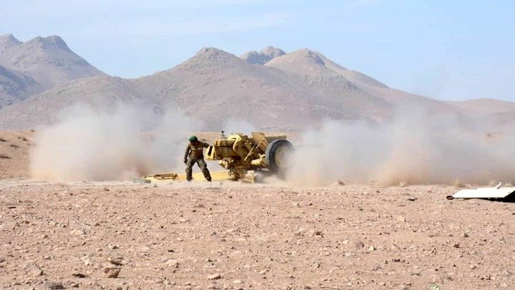An Afghan National Army soldier fires an artillery shell during an anti-Taliban operation in Anar Dara District, Farah Province, November 19. [Press office of the 207th Zafar Military Corps of the Afghan National Army]