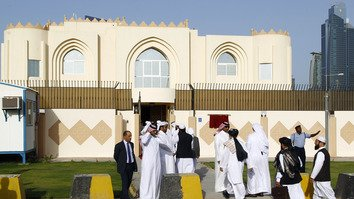 "The Taliban opened a political office in June 2013 in Doha, Qatar. The office is intended to open dialogue with the international community and Afghan groups for a ""peaceful solution"" in Afghanistan, office spokesman Mohammed Naim told reporters announcing the opening. [FAISAL AL-TAMIMI/AFP]"
