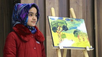 Afghan children demand peace through drawings, writing