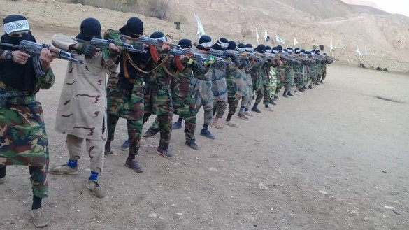 A photo released by the Taliban shows its fighters training last November. [File]