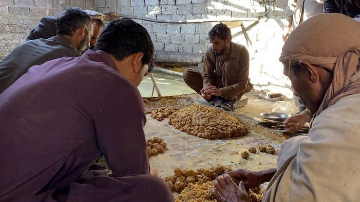 Workers give shape to baked sugar cane juice in Kama District,  Nangarhar Province, December 26. [Khalid Zerai]