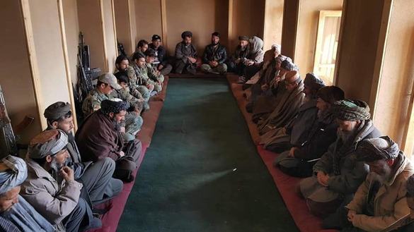 Tribal elders from Kohistan District, Faryab Province, gathered January 8 to declare local residents' support for the Afghan National Defence and Security Forces and their fight against the Taliban. [209th Shaheen Corps of the Afghan National Army/Facebook]