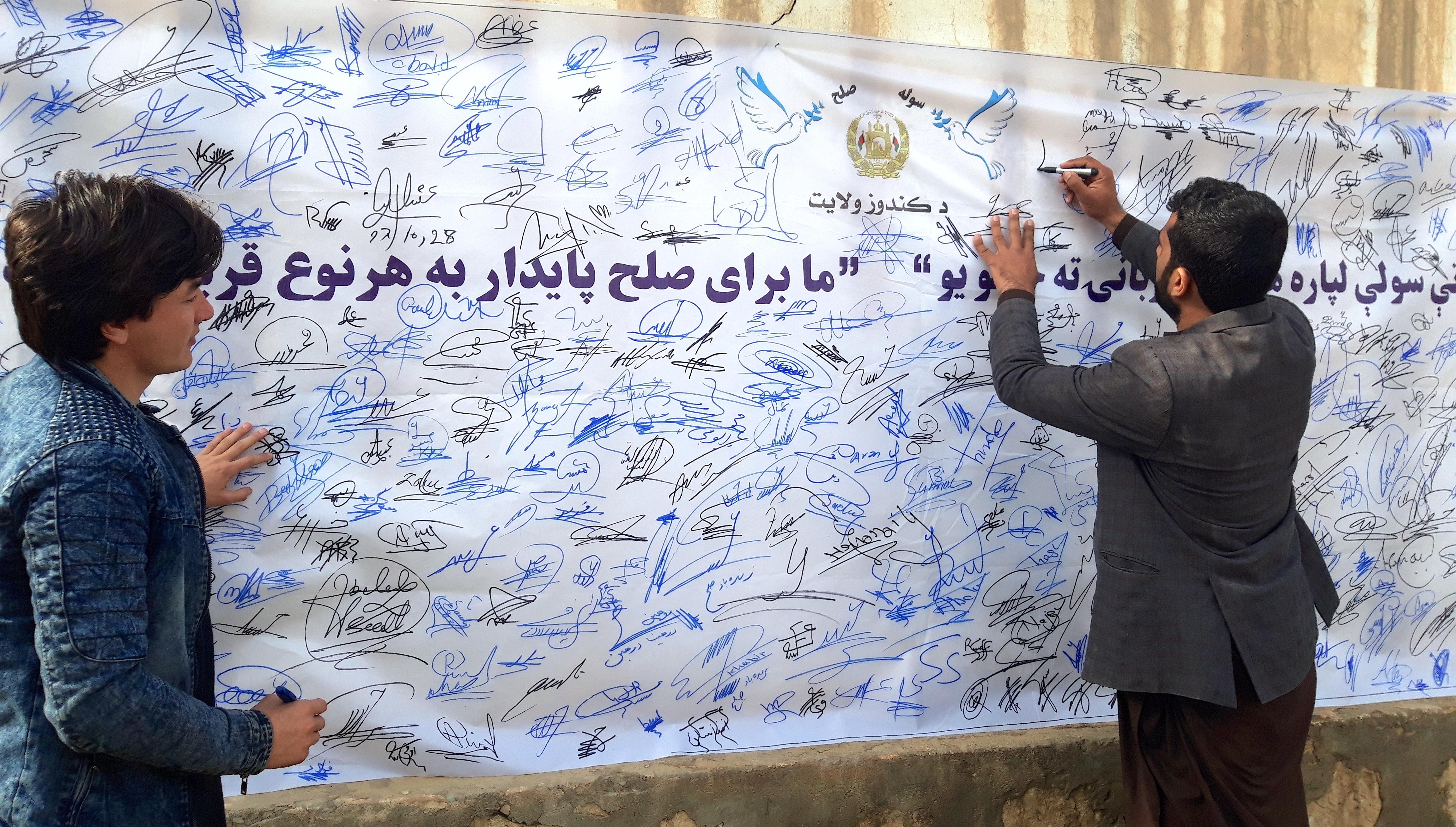 هزاران تن از باشنده گان قندوز فراخوان صلح را امضا کردند