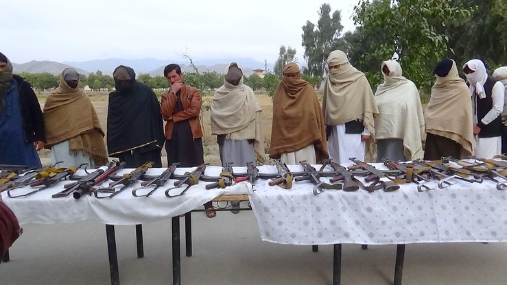 One ISIS and 20 Taliban militants surrender their weapons and join the peace process January 30 in Jalalabad, Nangarhar Province. [Khalid Zerai]
