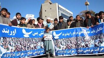 راهپیمایی حرکت صلح مردم با هدف خاتمه خونریزی وارد هرات شد