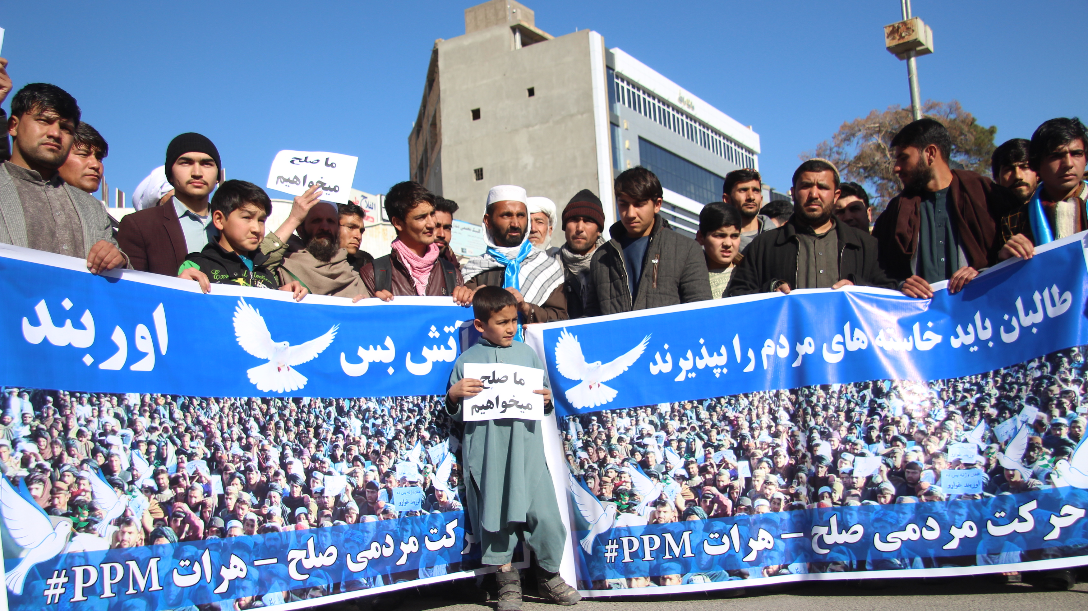 Marching to end bloodshed, People's Peace Movement arrives in Herat