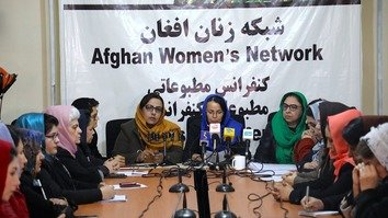 "The Afghan Women's Network holds a news conference February 4 in Kabul to say women's rights should not become a ""political tool"" in dealings with the Taliban. The insurgent group, when it ruled Afghanistan from 1996 to 2001, barred women from schools and jobs and drastically curtailed their personal liberties. [Afghan Women's Network/Facebook]"