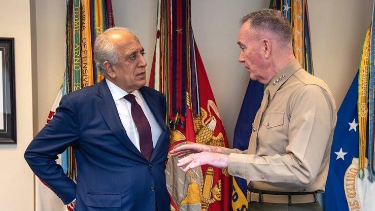 US Special Envoy Zalmay Khalilzad (left) meets with US Chairman of the Joint Chiefs of Staff Gen. Joseph Dunford in Washington, DC, in this photo posted on Twitter February 10. [Office of Zalmay Khalilzad/Twitter]