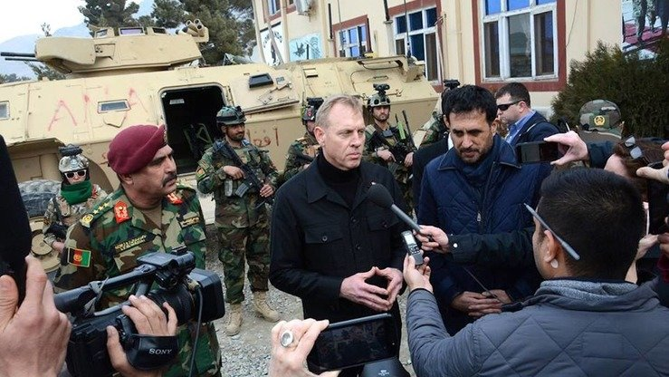US Acting Secretary of Defence Patrick Shanahan (centre) speaks to reporters at Afghan Special Operations Corps headquarters in Kabul on February 11. [Special Operations Corps/Facebook]
