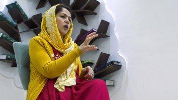 Defending women's rights, Afghan trailblazer stares down Taliban representatives
