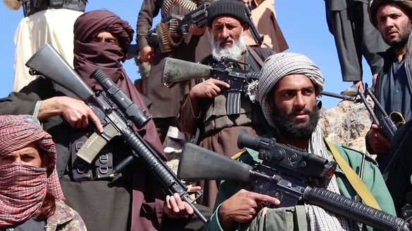 A screenshot from a Salaam Times video shows Taliban fighters under Mullah Manan Niazi, deputy commander of a Taliban splinter group, in an undisclosed location in Herat Province last November 10. [File]