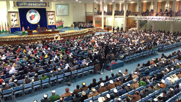About 2,500 Afghan tribal chieftains, community elders and politicians gather in Kabul for the nation's previous consultative Loya Jirga on November 21, 2013, to debate the Bilateral Security Agreement (BSA) with the United States.  [Massoud Hossaini/AFP]
