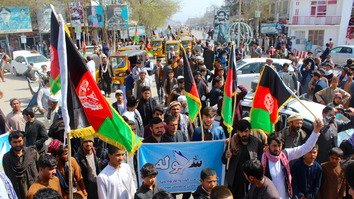 Marchers in Kunduz city can be seen March 16 as they rally in support for peace. [Hedayatullah]