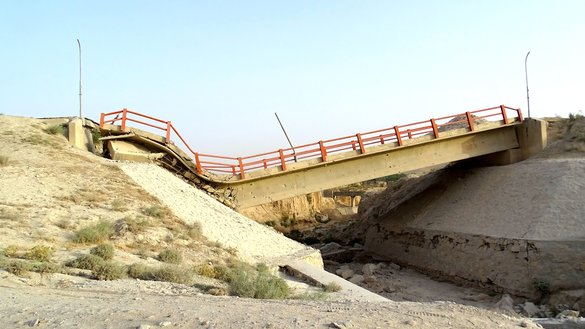 A destroyed bridge is shown March 24 in the Basaka area near Qalat, the capital of Zabul Province. A Taliban roadside bomb destroyed the bridge in October 2015, injuring two civilians and destroying their car. [Zabuli]