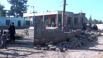 A photo taken last October 21 shows a mosque in Imam Sahib District, Kunduz Province, which a Taliban rocket damaged October 20. [Ahmadullah]